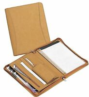 "Zippered Closure 8.5"" x 11"" Pad Organizer Meeting Conference Padfolio - A8123Tan"
