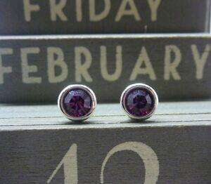 Silver Birthstone Earrings February Amethyst Purple Made with Swarovski Crystals