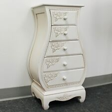 International Caravan Antique White Carved Wood Five Drawer Bombay Chest