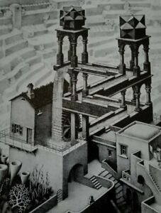WATERFALL Perpetual Motion WATER FLOWING UPWARD Modern Art M C Escher Print
