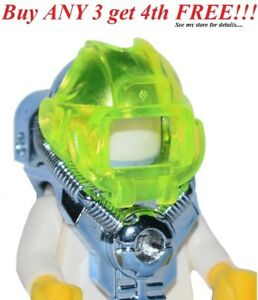 ☀️NEW Lego Minifig Headgear Helmet w/ Visor 2 Studs on Back Chrome Blue Space