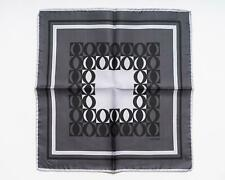 Tom Ford New Dark Gray Black Geometric Pattern 100% Silk Pocket Square