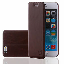 Numia Leder Tasche Handy Etui Apple iPhone 5 5s braun Schutz hülle Flip Case Bag