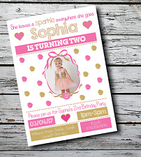 10 Personalised Kids Princess Girl 1st Birthday Party PHOTO Invitations Invites