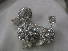Unsigned Schreiner Rhinestones Covered Poodle Vintage Brooch Pin