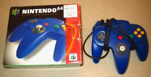 Authentic 1996 Nintendo 64 N64 Controller ~ Blue ~ in Original Box ~ Tested