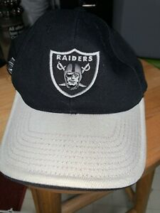 Nice Oakland/Las Vegas Raiders Black Cap Hat White Brim Front Logo OSFA