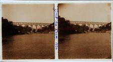 Pont du Gard Stéréo amateur Plaque de verrepos. 1934 Vintage