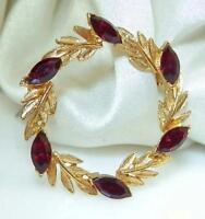 Pretty Vintage 70's Ruby Red Navette Rhinestone Eternity Brooch 678N5