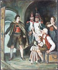 """Ancien Tableau """"Personnages"""" Peinture Huile Antique Oil Painting"""