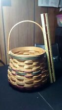 American Traditions Basket Round 1998 Brown with Green & Red Weaving
