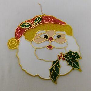"Plastic Stained Glass Look Santa's Face Suncatcher Merry Christmas Decor 7""x7.5"""