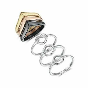 Hoxton & Co Women's Gold Rose Silver & Black Band Ring Midi Love Set of 6 £39