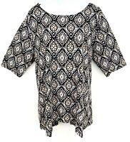 Dana Buchman Top Blouse Shirt Womens XL Black White Beige 3/4 Sleeve Round Neck