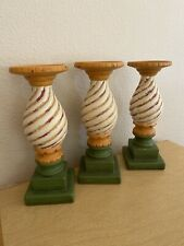 Set Of 3 Southern Living At Home Carousel Candle Holder Stand Ceramic Orange