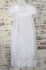 Petit Ami Baby Girls White Christening Gown with Square Collar and Embroidered