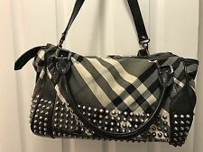 burberry classic Two Way Shoulder Bag, Black Leather With Sliver spikes