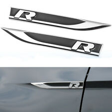 2x Universal Metal R Logo Car Side Wing Fender Emblem Knife Badge Stickers Black