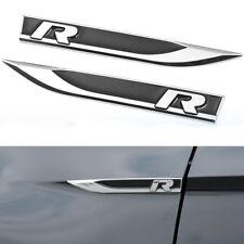 2x Universal Metal R Logo Car Side Wing Fender Emblem Knife Badge Stickers Black
