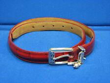 30 M Brighton Ladies Red Leather Belt Silver Golfer Charm Golf Bag Womens C3012