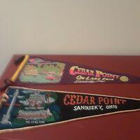Vintage (2) Cedar Point on Lake Erie, Sandusky, Ohio Pennants