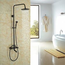 Oil Rubbed Bronze Shower Faucet 8''Rainfall Shower Head With Hand Shower Tub Tap