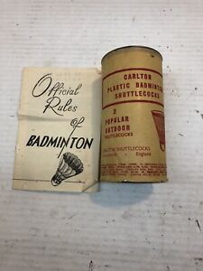 Vintage Carlton Badmington Shutlecocks E&L Manufacturing Co. Orig Pkg- Rules Bkl