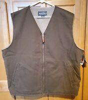 NEW Woolrich Men's XXL 2XL Sherpa Lined Full Zip Vest Coat Bark Brown
