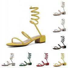 6 Colors Gladiator Women Strappy Snake Pattern Rhinestone Slingbacks Shoes 34-40