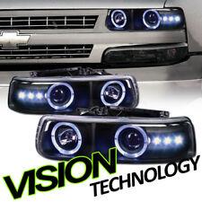 Black Halo Rims LED Projector Headlights K2 For 99-06 Silverado/Suburban/Tahoe