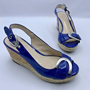 Franco Sarto Kendra Women Blue Patent Slingback Cork Wedge Espadrille Shoe SZ 4