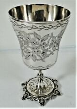 ANTIQUE ISLAMIC SOLID SILVER OTTOMAN GOBLET CUP ENGRAVED FLOWERS TUGHRA 1880
