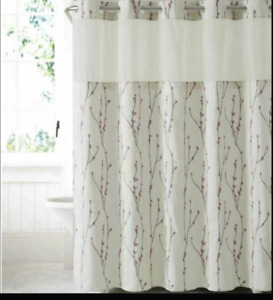 Hookless Cherry blossom embroidery Shower Curtain with Peva Liner Pearl taupe