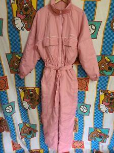 Vintage 80s 90s Alaska One piece Snow Suit Ski Retro Snowsuit PINK Womens L