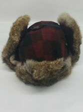 Mad Bomber Hat Cap Adult Extra Large Plaid Rabbit Fur Winter Outdoors Mens