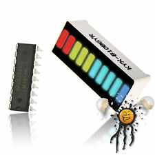 LED 10 Segment Bargraph Anzeigenmodul farbig mit LM3914N LED Treiber IC kompl.