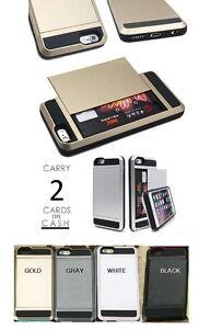 Hybrid Wallet Slide Case Cover Card Slot Holder For iPhone 6 & 6S