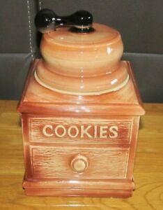 Vintage McCoy USA Coffee Grinder Cookie Jar Kitchen Decor Brown & Cream Swirl