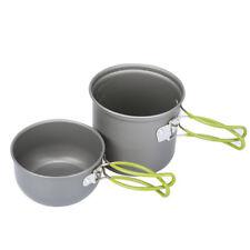 2Pcs Outdoor Camping Hiking Cookware Backpacking Cooking Picnic Bowl Pot Pan Set