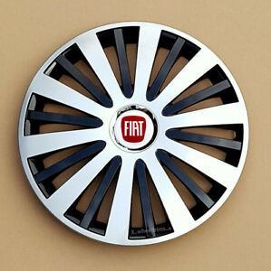 """Full set silver/black 14"""" wheel trims, hubcaps to fit FIAT 500"""