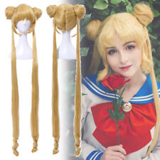 Sailor Moon Tsukino Usagi Serenity Golden Long 2 Ponytails Cosplay Wig Anime Wig