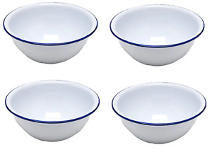 """🔥 White Enamel Cereal Bowls 6"""" Retro Camping Outdoor Tableware Bowl x4"""
