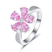 Pretty Flower Exquisite Wedding Ring Pink Topaz Amethyst Gemstone Silver Jewelry