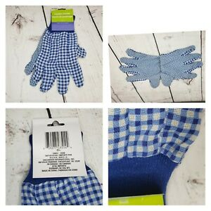 Garden Collection Gloves Blue and White checkers Latex Dots for Gripping