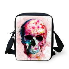 White Purse Women Fashion Skull Designs Sling Bags Cross Body Satchel Messenger
