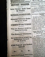 FINAL NOTHERN INVASION & Post Battle of the Crater 1864 Old Civil War Newspaper