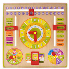 Childrens/Kids Wooden Calender Clock Educational Learning Toy Teach Time & Dates