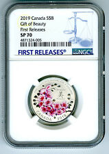 2019 $8 CANADA SILVER NGC SP70 GIFT OF BEAUTY CHERRY BLOSSOMS FIRST RELEASES !!