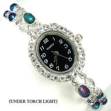 Sterling Silver 925 Genuine Natural Black Opal & White Topaz Watch 7.5 Inch