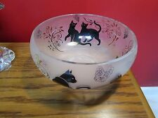 "Lenox ""Happy Kittens"" Etched Frosted Art Glass Decorative Bowl [pasillo]"